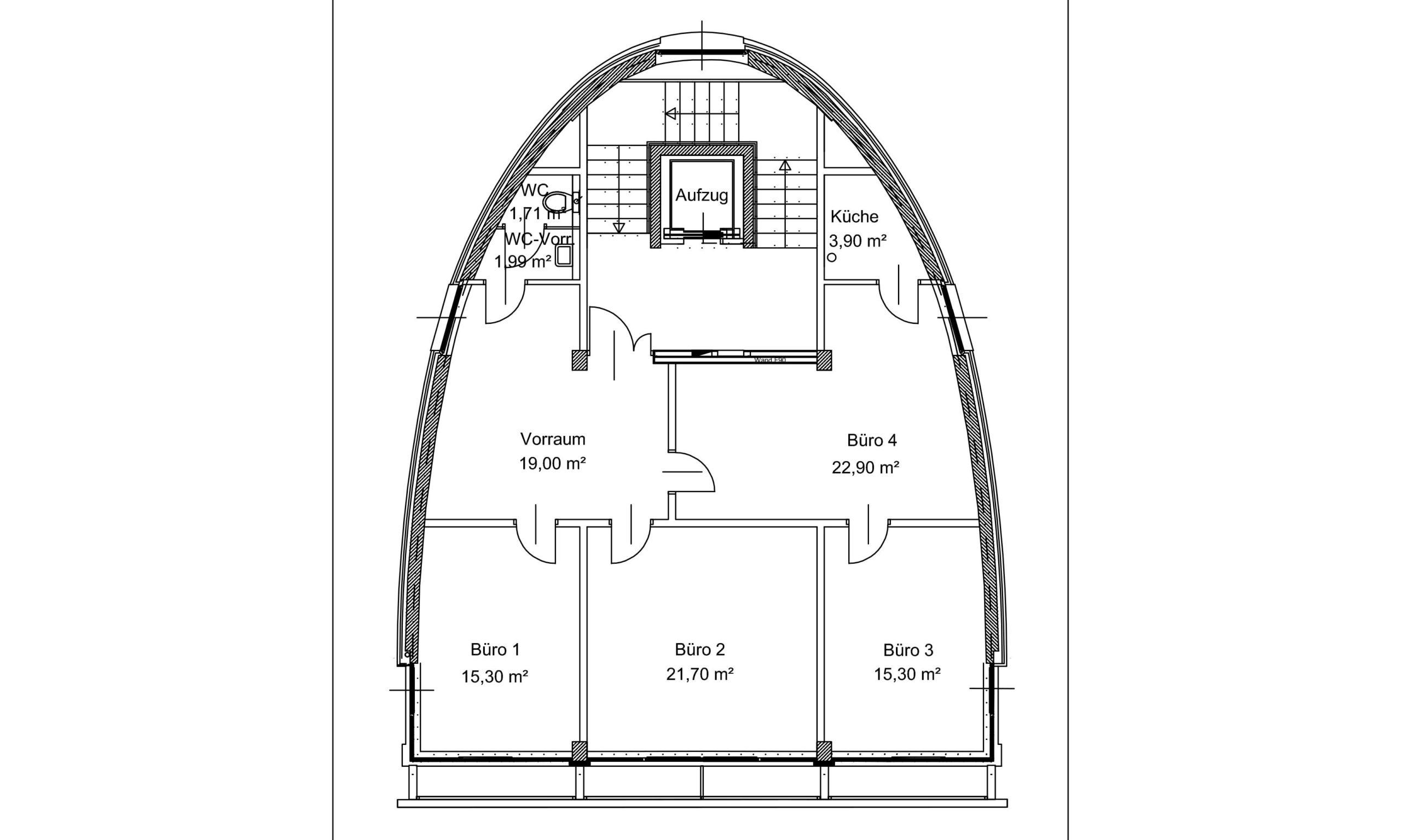 Grundrissplan Büroturm am Ökopark Hartberg