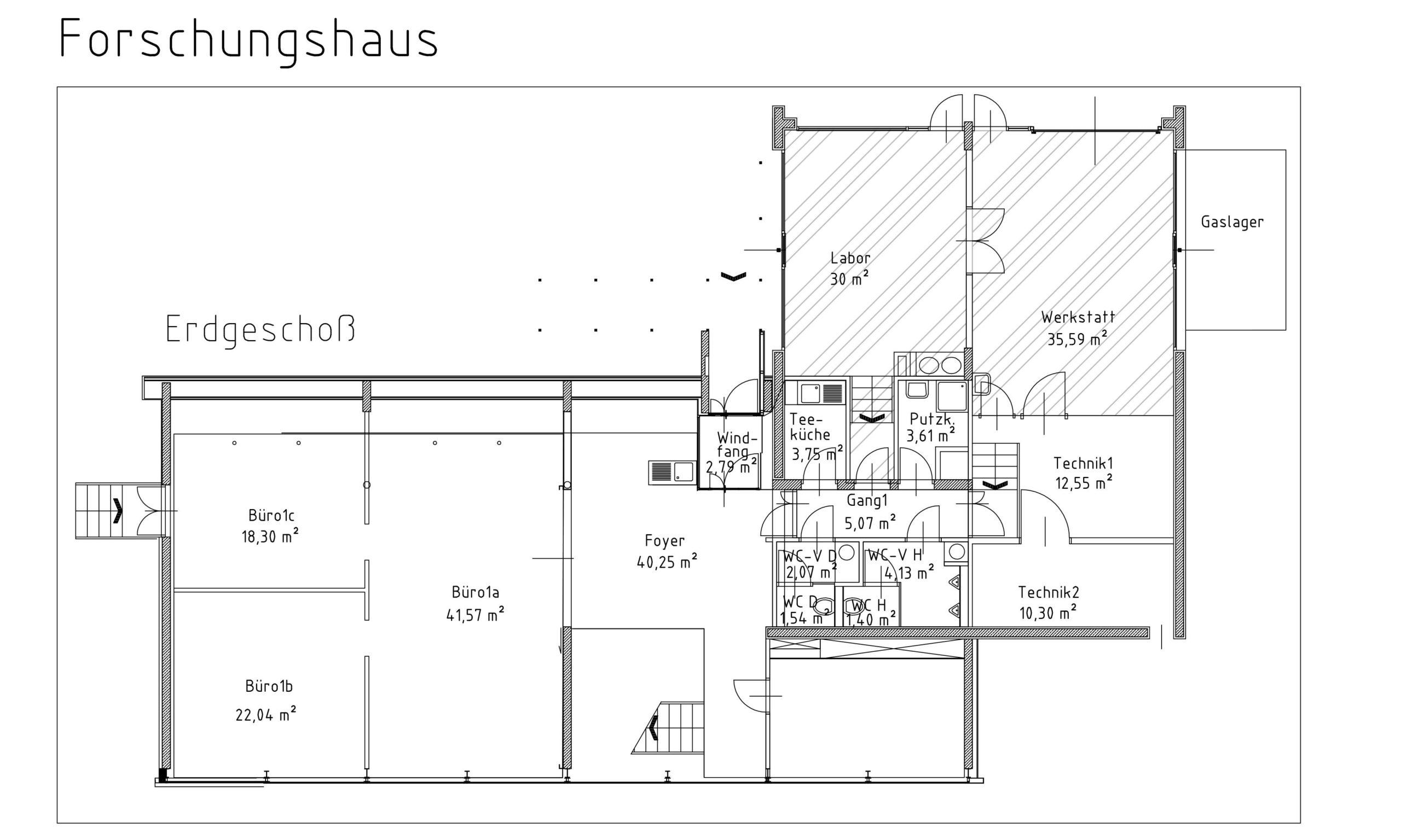Grundrissplan Forschungshaus Labor bzw. Werkstätte