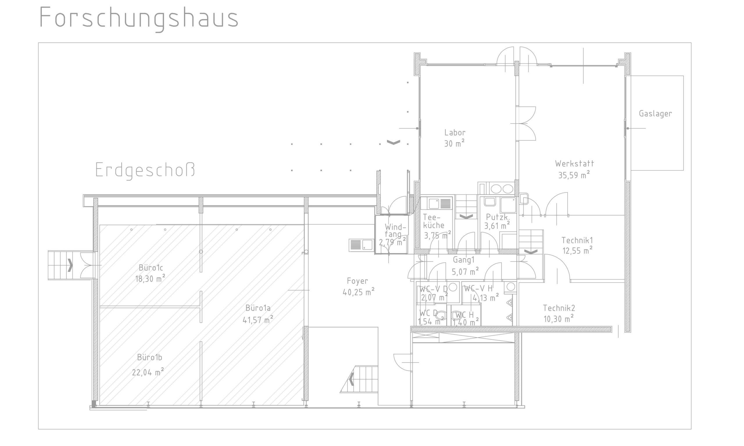 Flächenplan Büro Forschungshaus am Ökopark Hartberg
