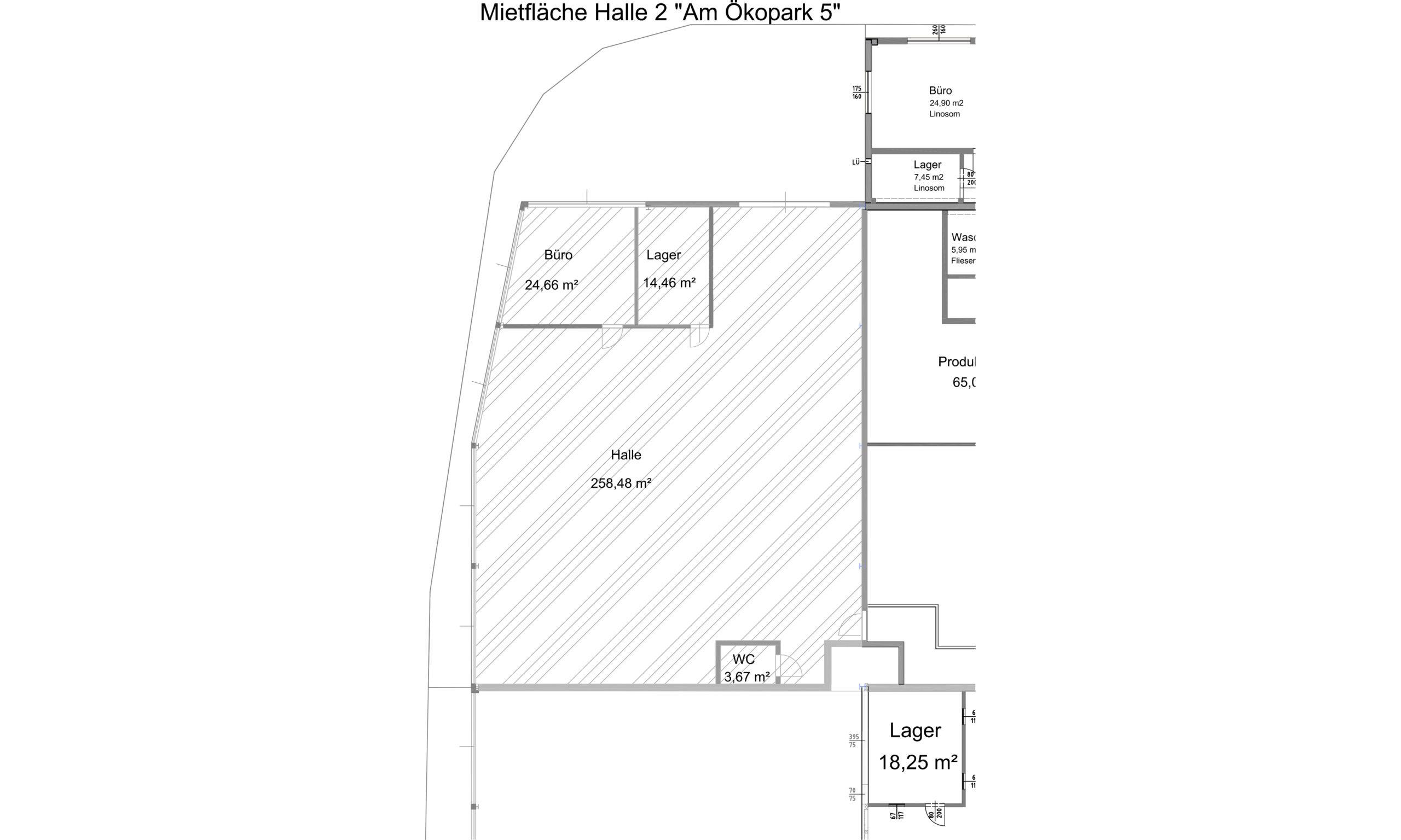 Plan der Halle rechts hinten am Ökopark 5